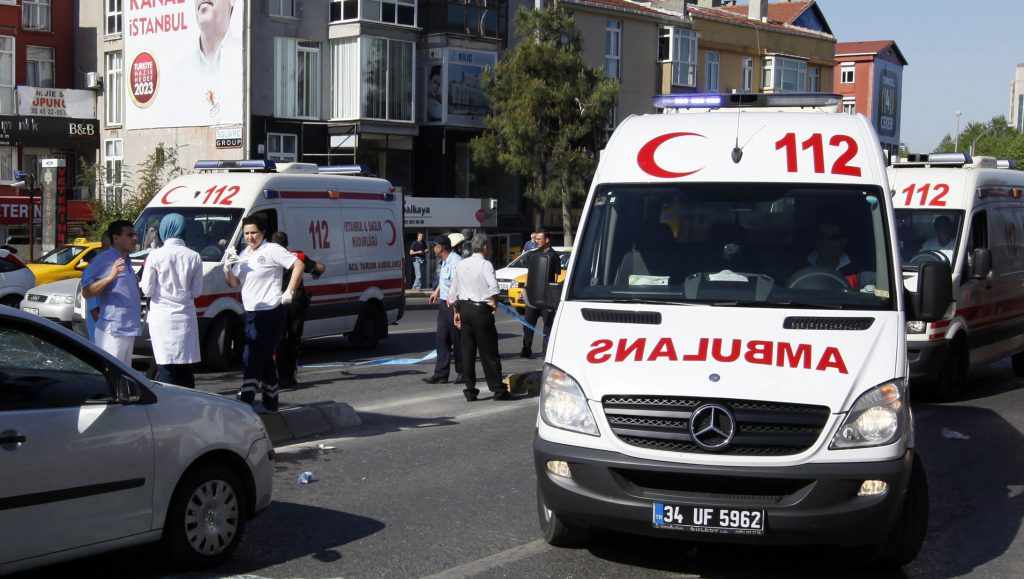 Ambulances arrive following a blast in Istanbul