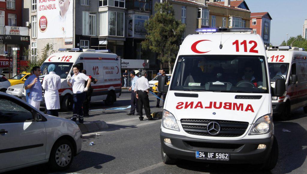 Ambulances arrive following a blast in Istanbul